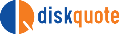 Diskquote logo. Blue and Orange. Auto Insurance..