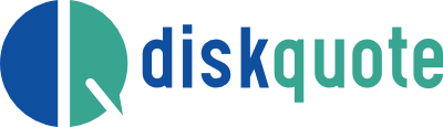 Diskquote logo. Blue and light gree. Final Expenses.