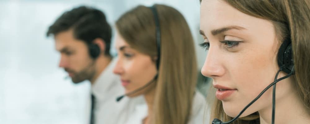 People working in call center.
