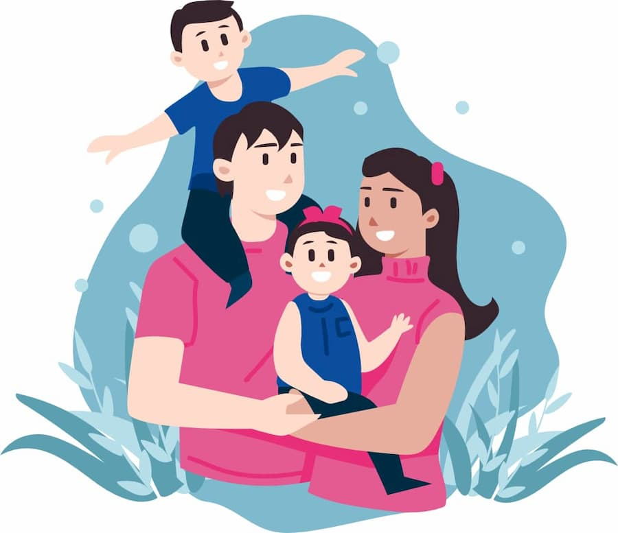 Illustration of a happy family. For finding a good Insurance Quotes.